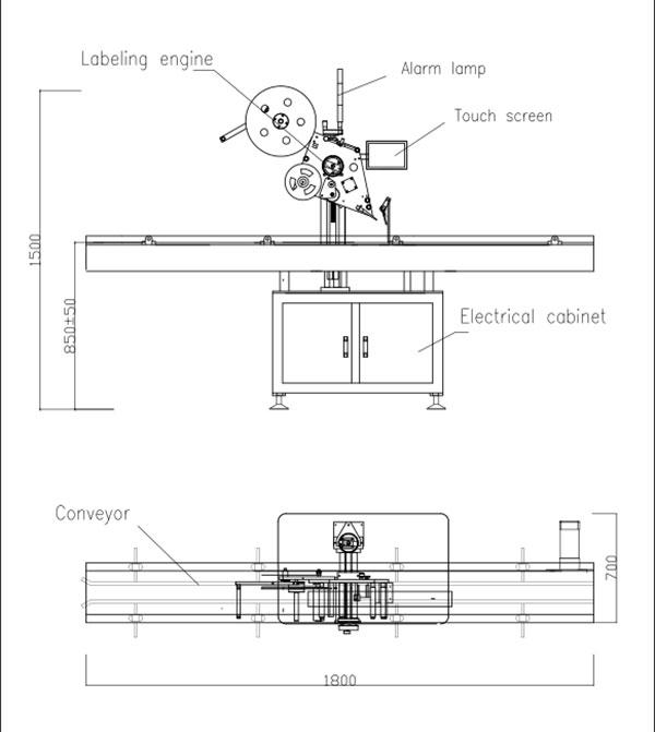 Automatický samolepiaci štítkovací stroj s plochým vrchom
